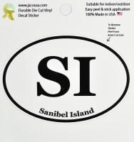 "4"" Black and White ""SI"" Oval Sanibel Island Sticker"