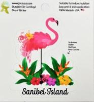 "4"" Sanibel Island Flamingo and Flowers Sticker"