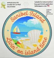 "4"" Sanibel Island Living on Island Time Sticker"