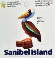 """4"""" Sanibel Island Pelican Sticker"""