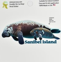 "4"" Sanibel Island Manatee Sticker"