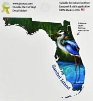 "4"" Blue Heron in Florida Sanibel Island Sticker"