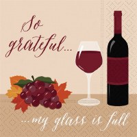 "5"" So Grateful My Glass is Full Beverage Napkin"