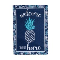 """18"""" x 13"""" Blue and White Pineapple Welcome To Our Home Garden Flag"""