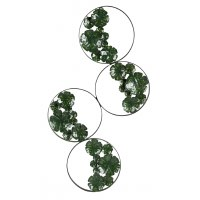"""40"""" Four Rings With Green Leaves Metal Wall Plaque"""