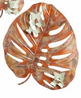"22"" Copper Leaf With Verdigris Butterflies Metal Wall Plaque"