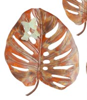 "20"" Copper Leaf With Verdigris Butterflies Metal Wall Plaque"