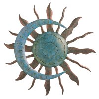 """28"""" Round Copper and Tuirquoise Metal Sun and Moon Celestial Wall Plaque"""
