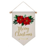 """18"""" x 15"""" LED Merry Christmas Red Poinsettias Wall Banner"""