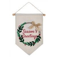 "18"" x 15"" LED Season's Greetings Holly Wreath Wall Banner"