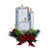 """8"""" LED Glitter Spinning Water Candle With Faux Holly Berries and Plaid Bow"""