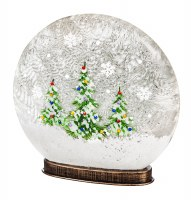 """10"""" Hand Painted Christmas Trees LED Glass Disk Globe"""