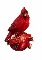 """8"""" Red Polyresin Cardinal on LED Happy Holidays Ornament"""