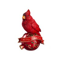 """8"""" Red Polyresin Cardinal on LED Merry Christmas Ornament"""