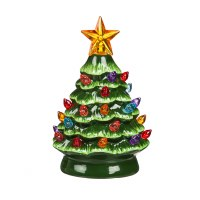 """5"""" Green Ceramic Tree With LED Color Changing Lights"""