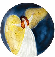 "18"" Round Hand Painted Navy and Yellow Angel Embossed Glass Bird Bath Bowl"