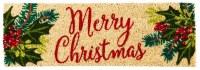 "9"" x 28"" Holly Framed Merry Christmas Natural Coir Kensington Doormat"