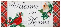 """10"""" x 22"""" Red and White Cardinal Tartan Welcome To Our Home Sassafras Doormat"""
