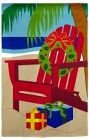 "18"" x 13"" Red Adirondack Beach Chair Christmas Gifts & Wreath Garden Flag"