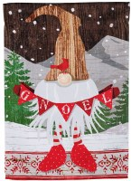 """18"""" x 13"""" Mini Red and White Gnoel Gnome Suede Garden Flag"""