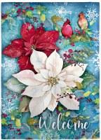 "18"" x 13"" Mini Red and White Poinsettia Welcome Glisten Garden Flag"