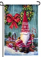 """18"""" x 13"""" Mini Santa Gnomes With Lantern and Ornament Double Sided Garden Flag"""