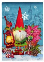"""18"""" x 13"""" Mini North Pole Gnome With Cardinal Textured Suede Garden Flag"""