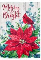 "18"" x 13"" Mini Merry & Bright Cardinal Poinsettia Strie Garden Flag"