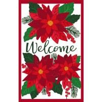 """18"""" x 13"""" Mini Red Poinsettia Welcome Applique Garden Flag"""