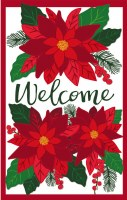 """44"""" x 28"""" Red Poinsettia Welcome Applique House Flag"""