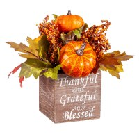 """9"""" Thankful Grateful and Blessed Pumpkin and Berry Arrangement"""