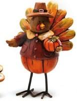 "4"" Polystone Turkey with Pumpkin"