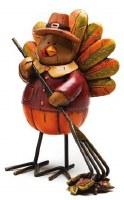"""4"""" Polystone Turkey with Leaf Rake"""