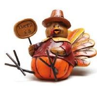 "3"" Polystone Turkey with Happy Fall Sign"