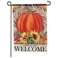 """18"""" x 12"""" Mini Pumpkin Autumn Welcome Flag"""