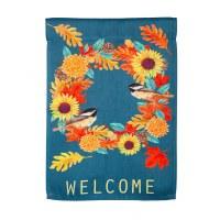 "18"" x 12"" Mini Chickadee Welcome Fall Wreath Flag"