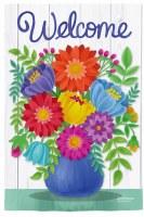 "43"" x 29"" Multicolor Flower Vase Welcome Garden Flag"