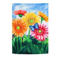 """18"""" x 13"""" Mini Pink and Yellow Gerbera Daisies Textured Suede Garden Flag"""