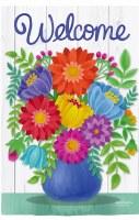 """18"""" x 13"""" Mini Multicolor Flower Vase Welcome Garden Flag"""