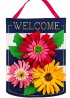 """23"""" x 17"""" Navy and White Striped Gerbera Daisies Welcome Door Hanger"""