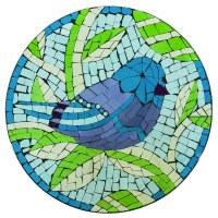 "18"" Round Green and Blue Mosaic Glass Bluebird Bowl"