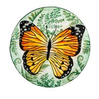 """18"""" Round Hand Painted Monarch Butterfly Crushed Glass Bird Bath Bowl"""