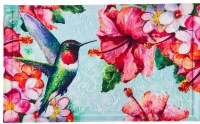 "18"" x 30"" Pink and Blue Hummingbird and Hibiscus Embossed Doormat"