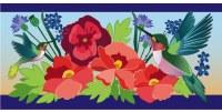 """10"""" x 22"""" Blue and Red Hummingbird Meadow Sassafras Doormat"""