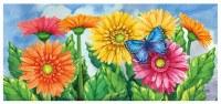 "10"" x 22"" Multicolor Spring Gerbera Daisies Sassafras Doormat"