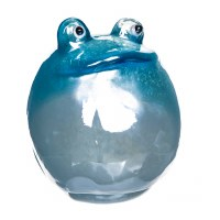 """6"""" Round Blue and White Blown Glass Frog"""