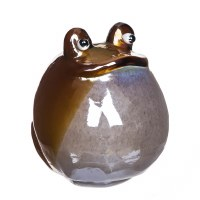 """6"""" Round Brown and White Blown Glass Frog"""