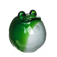 """6"""" Round Green and White Blown Glass Frog"""