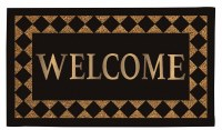"""16"""" x 28"""" Diamond Border Welcome Natural Coir and Black Rubber Doormat"""