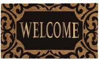 """16"""" x 28"""" Scroll Border Welcome Natural Coir and Black Rubber Doormat"""